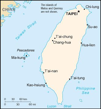 CIA World Factbook Map of Taiwan